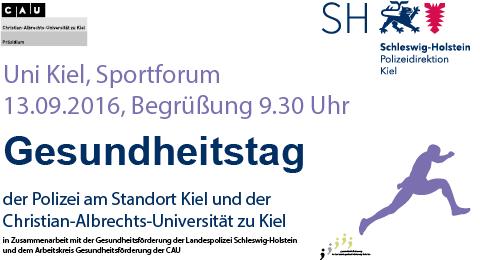 Gesundheitstag 2016 am 13. September 2016 im Sportforum der Uni Kiel. Begrüßung: 9:30 Uhr